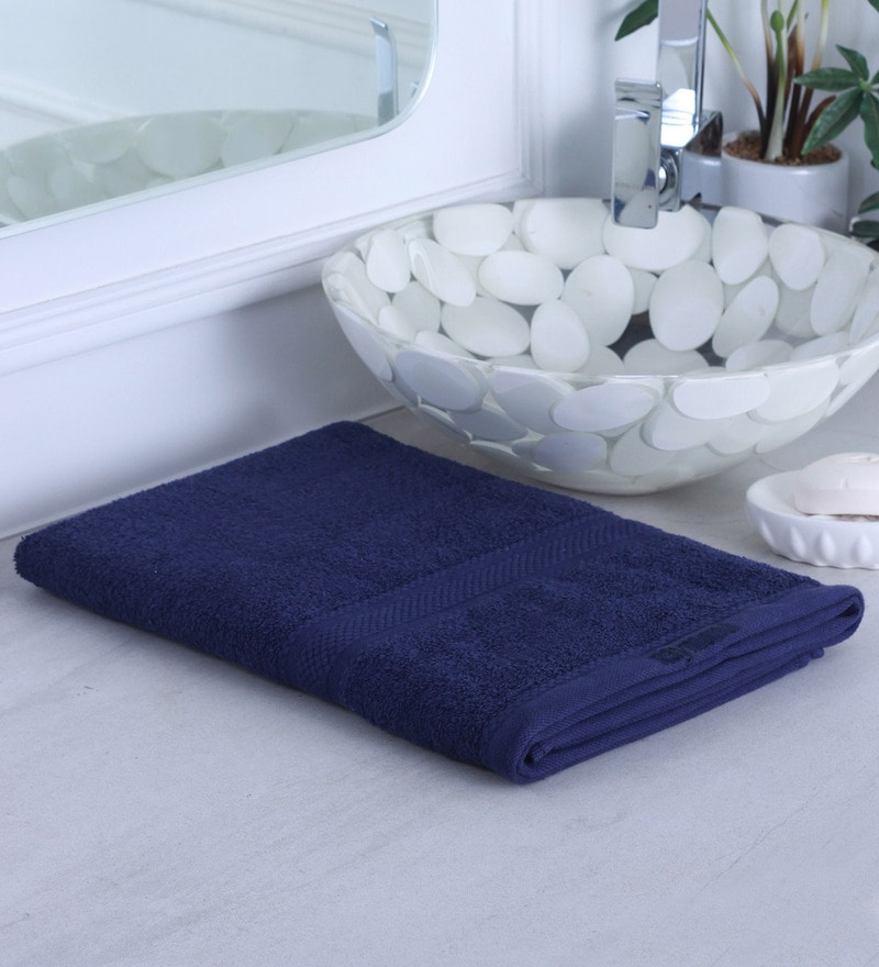 Navy Blue 100% Cotton Bath Towel by Raymond Home