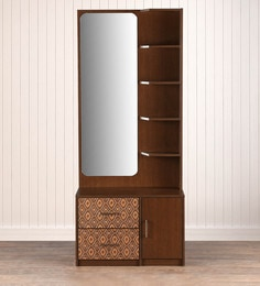 Buy Nebula Dressing Table With Mirror In Coffe Brown Finish By
