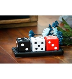 NestRoots Ceramic Super Cool Black White & Red Dice Salt Pepper Holder - Set Of 3