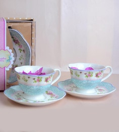 Nestroots Extremely Pretty & Elegant Cups & Saucers White Porcelain - Set Of 4 - 1638300