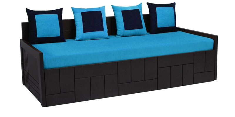 Nelson Sofa cum Bed with Four Pillows in Sky Blue Colour by Auspicious Home