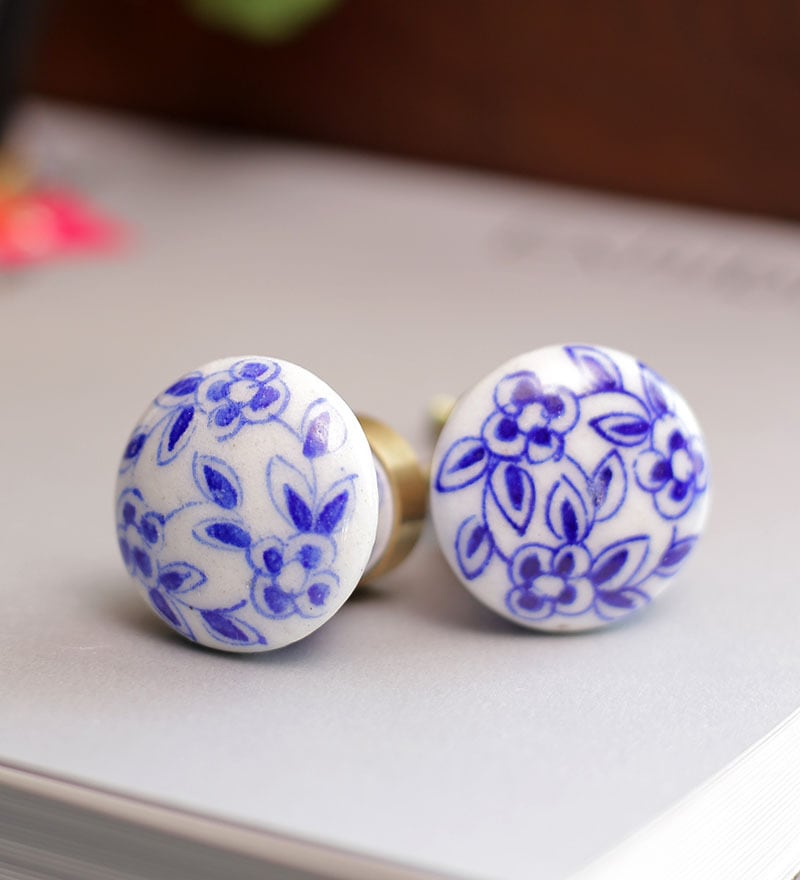Neerja White & Blue Ceramic Flowered Hand Painted Door Knob - Set Of 6