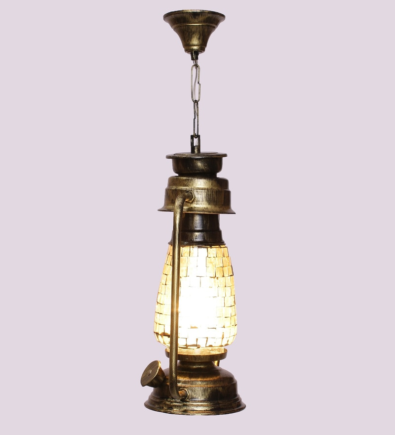Mosaic Finish Golden Hanging Lantern by New Era