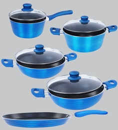 Nirlon Blue Aluminium Cookware Combo Gift - Set Of 5 - 1688768