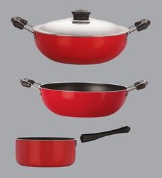 Nirlon Red & Black Aluminium Cookware Combo Gift - Set Of 2 - 1689197