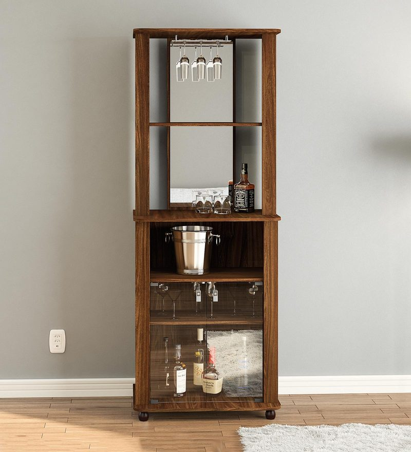 Nikka Bar Cabinet in Walnut Brown Finish by Mintwud