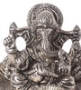 Ni Decor Silver Metal & Glass Ganpati on Leaf Tea Light Holder