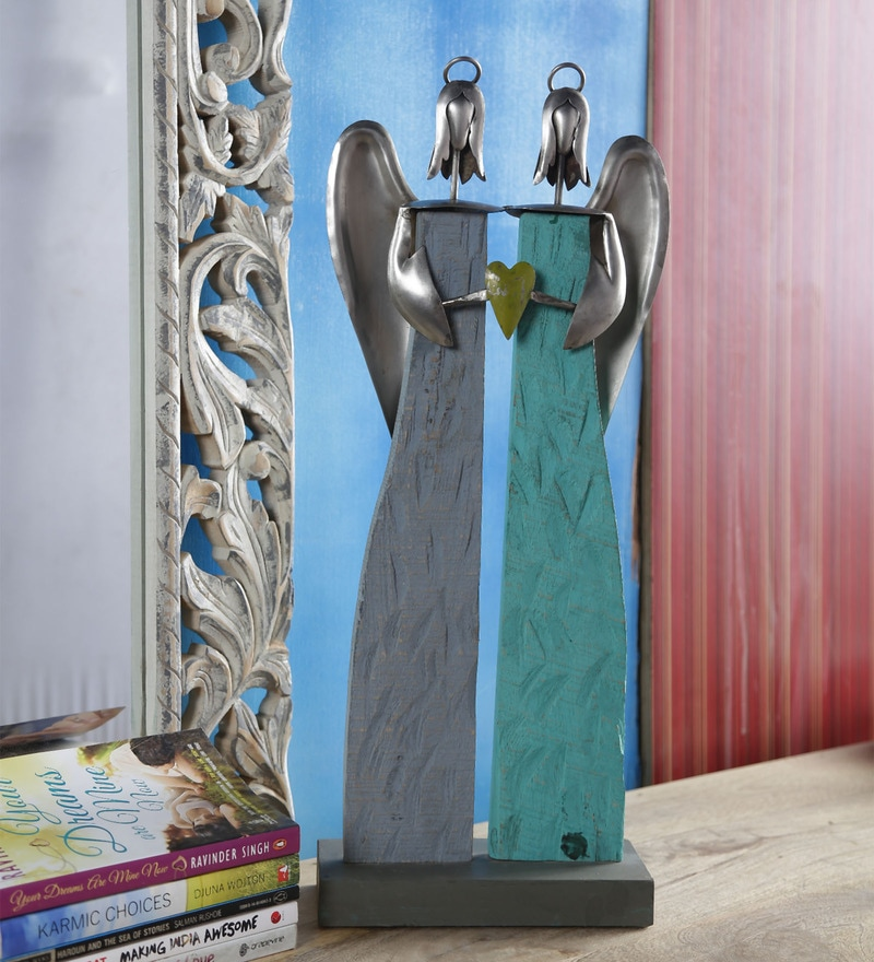 Noble Silver & Turquoise Wood & Iron Two Angels Showpiece