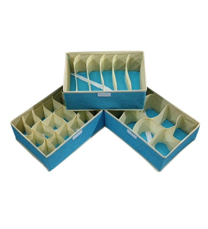 Non Woven Blue Small Cloth Organisers by Home Creations - Set of 3