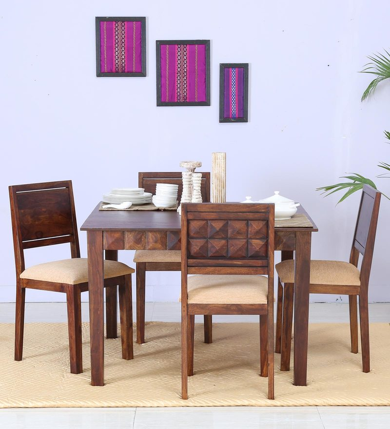 Norman Four Seater Cushioned Dining Set in Provincial Teak Finish by Woodsworth