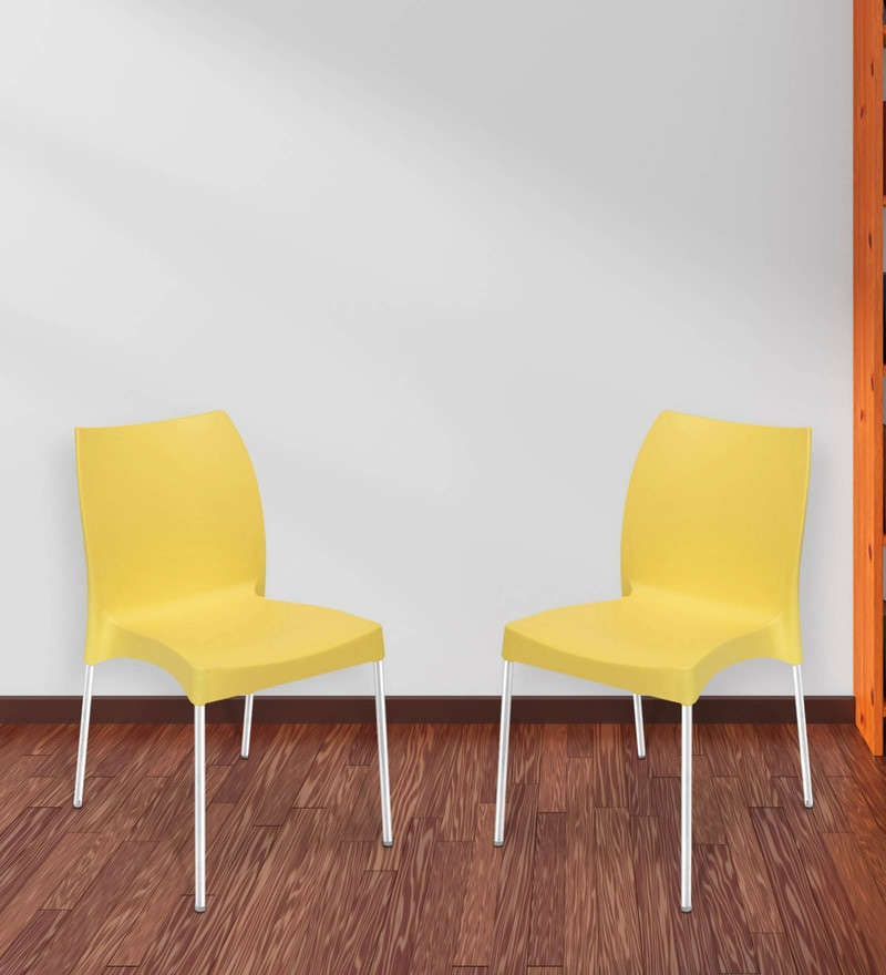 Novella Series - 7 (Set of 2) Chairs in Yellow Color by Nilkamal