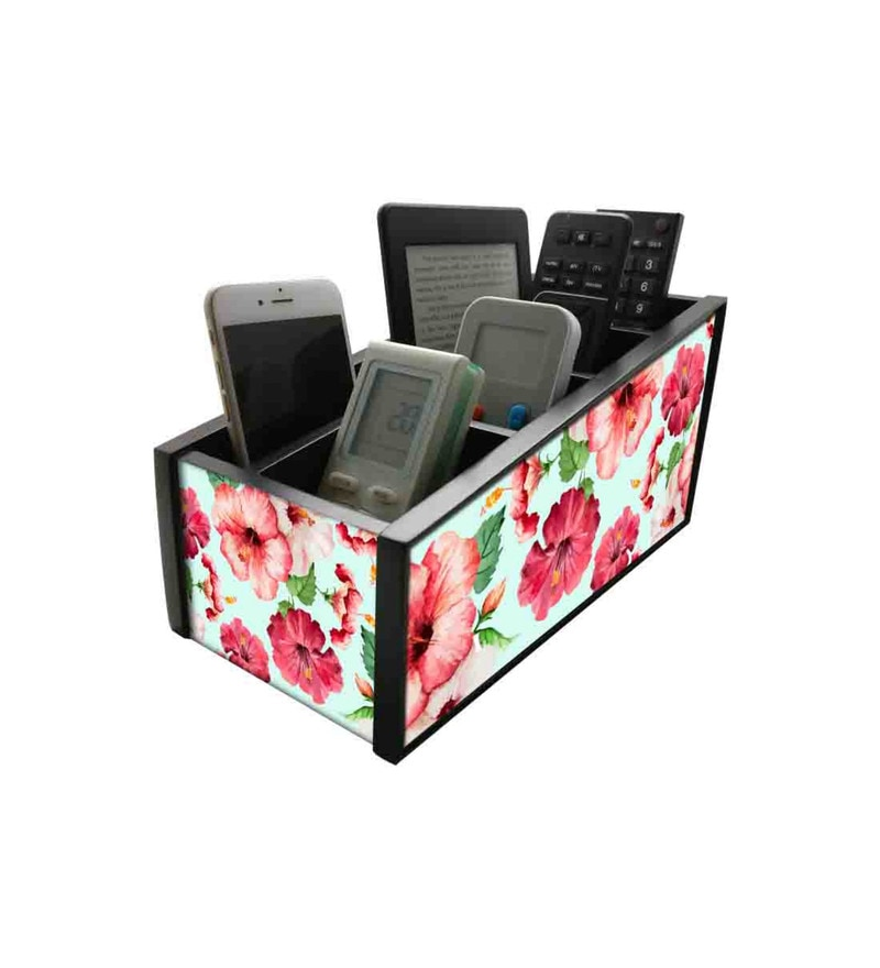Nutcase Hibiscus Flower with White Background Wood Remote Control Stand