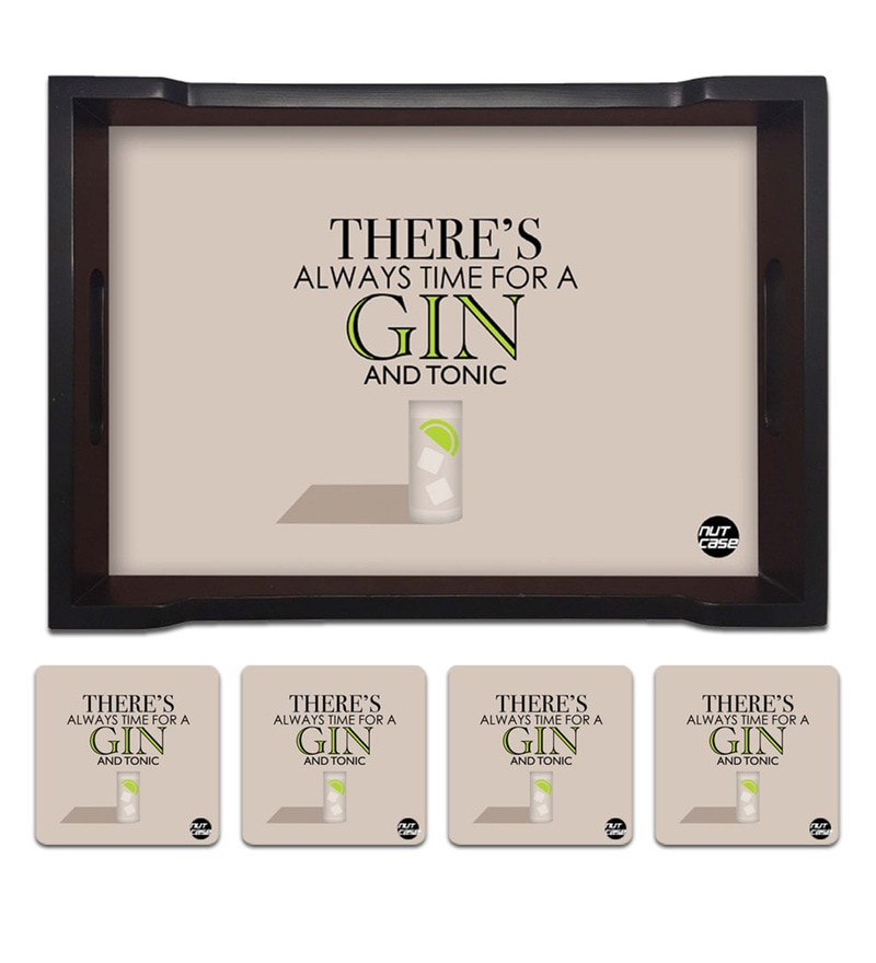 Nutcase There's Always Time for Gin Pine Wood Tray with 4 Coasters