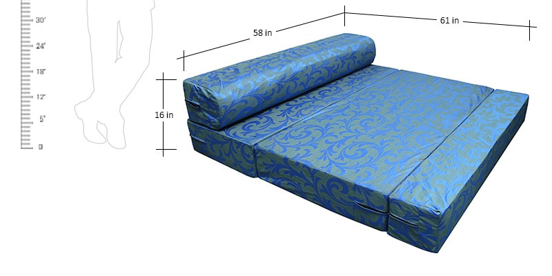 Buy Oasis Trifold Sofa cum Bed in Blue Colour by RVF Online