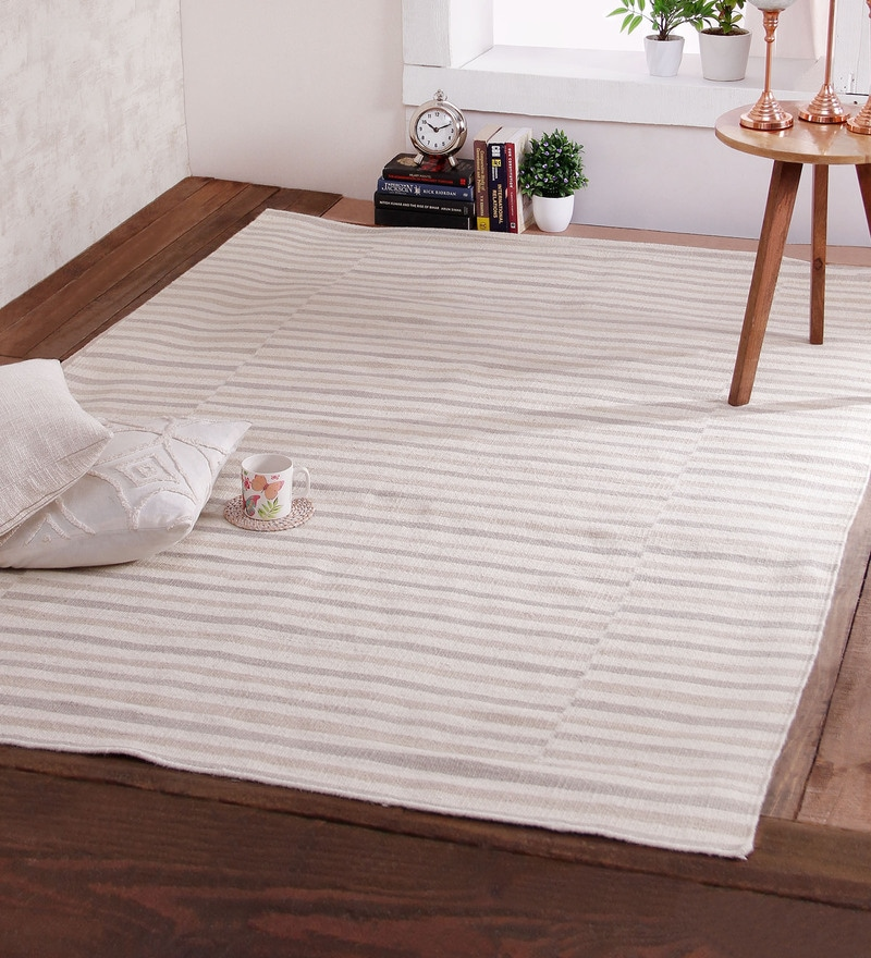Ivory Wool 84 x 60 Inch Celebration Dhurrie by Obeetee