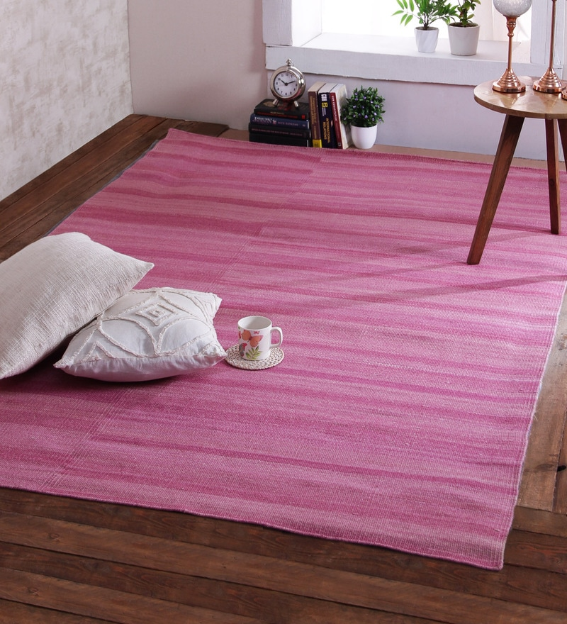 Pink Wool 96 x 60 Inch Brokenline Dhurrie by Obeetee