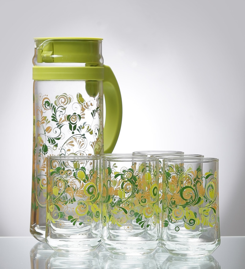 Ocean Sharing Delight Green Jug and Tumbler Set of 7