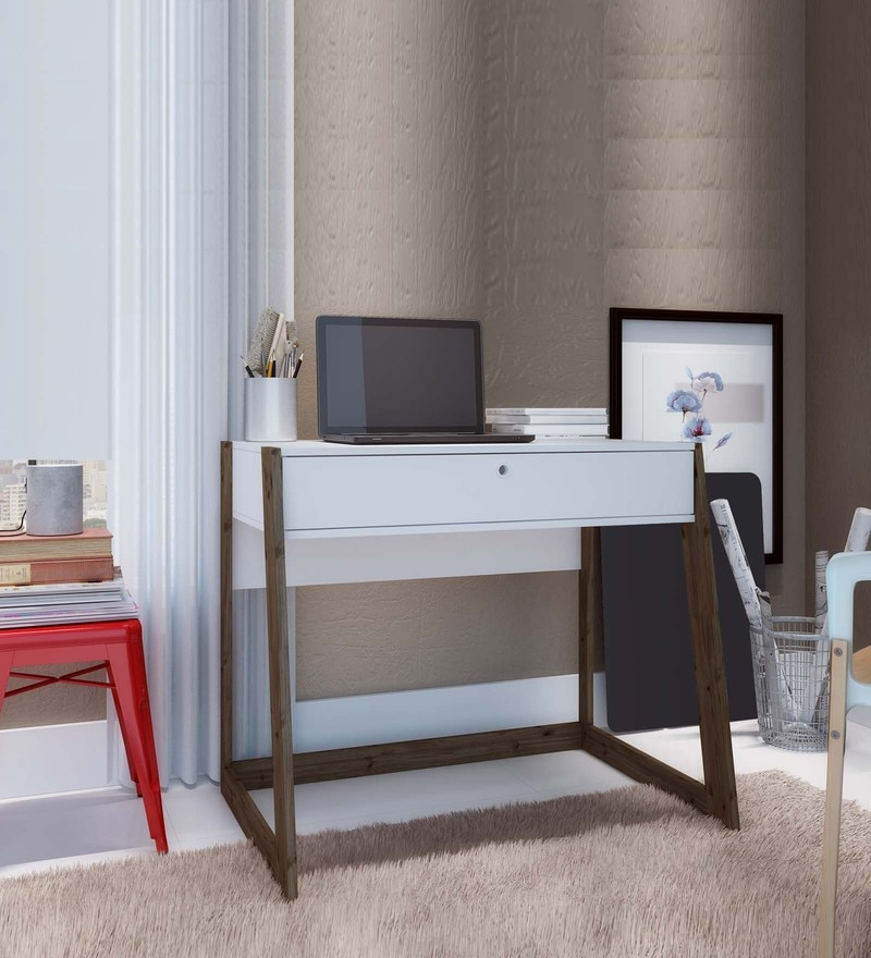 Oda Study Table with Drawer in White & Dark Oak Finish by Mintwud