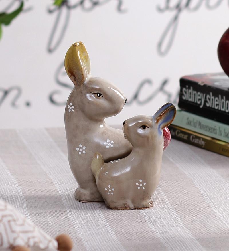 Beige Ceramic Flora & Fauna Decorative Cottontail Rabbits Figurine by OddCroft