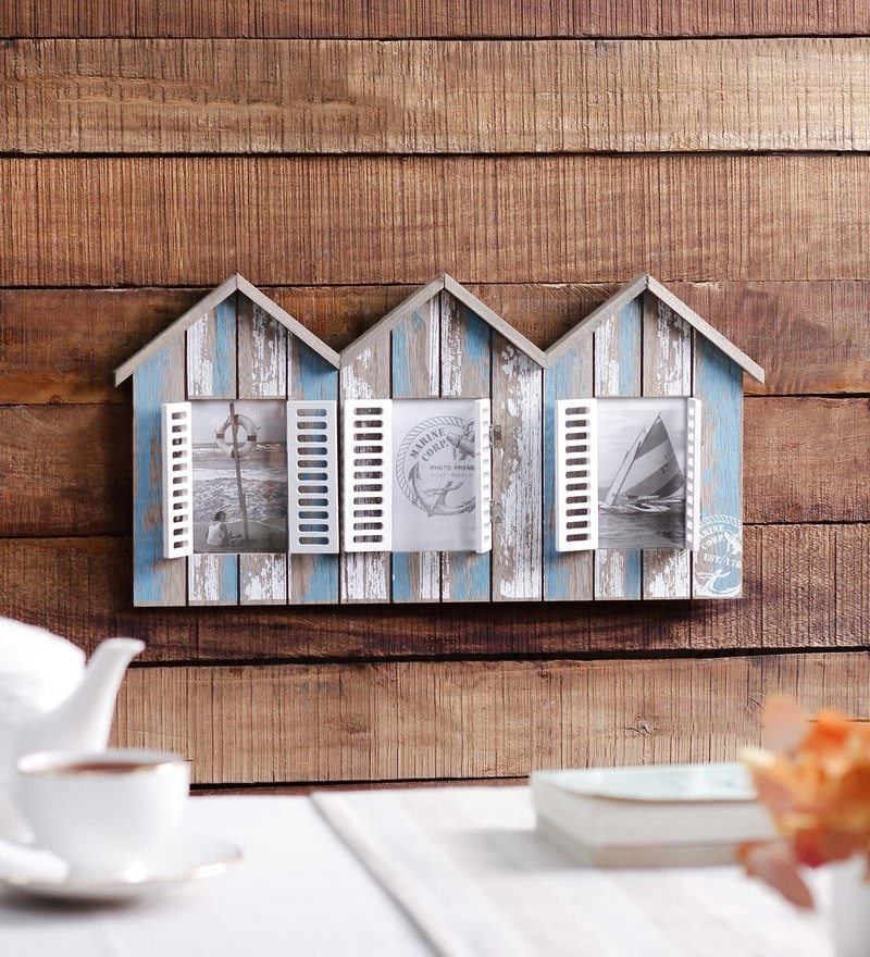 Blue & White Wooden 18 x 0.4 x 9 Inch Marina Pier House Photo Frame by OddCroft