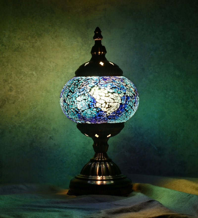 Blue Glass Table Lamp by OddCroft