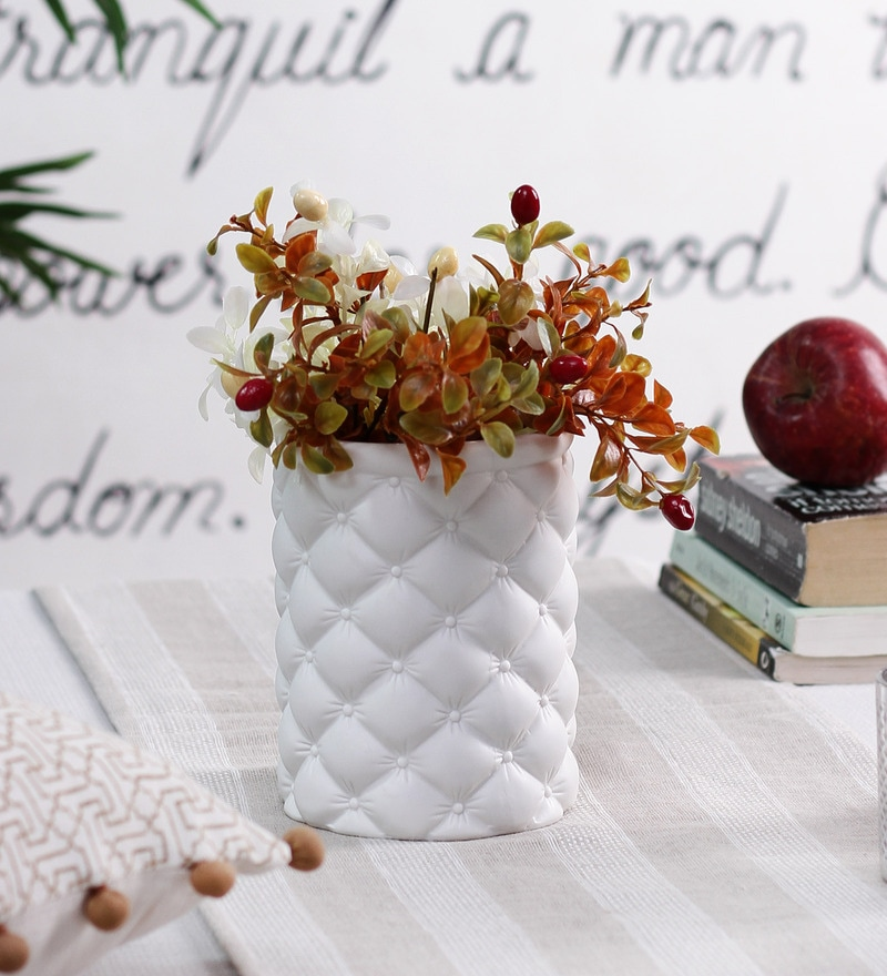 White Ceramic Studded Pin Cushion Small Vase by OddCroft