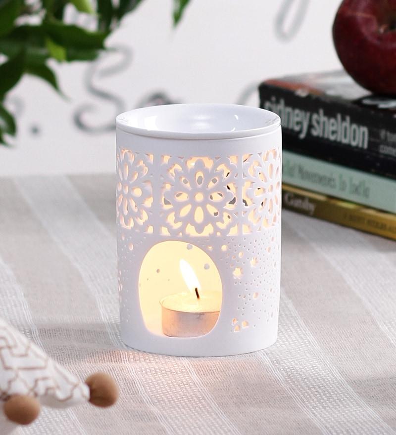White Porcelain Carved Floral Incense Burner by OddCroft