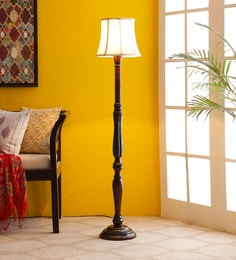 Off White Cotton Floor Lamp - 1680036