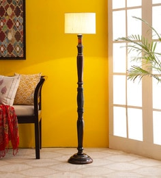 Off White Cotton Floor Lamp - 1680028