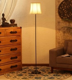 Off White Cotton Floor Lamp - 1680004