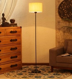 Off White Cotton Floor Lamp