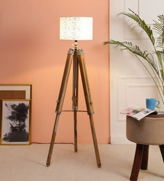 Off White Fabric Floor Tripod Lamp