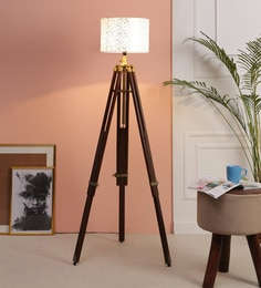 Off White Fabric Floor Tripod Lamp - 1693700