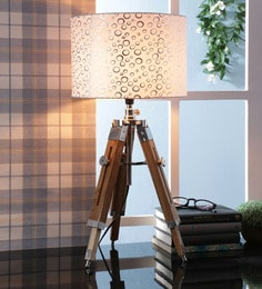 Off White Fabric Table Tripod Lamp