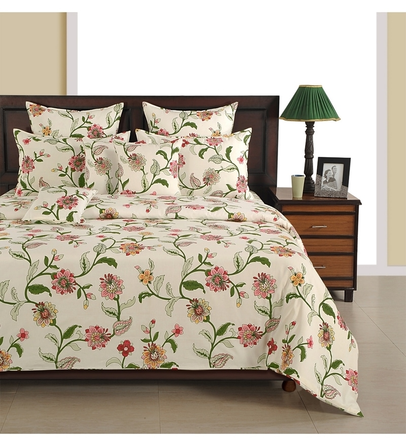 Off White Cotton Single Size Bedsheet - Set of 2 by Swayam