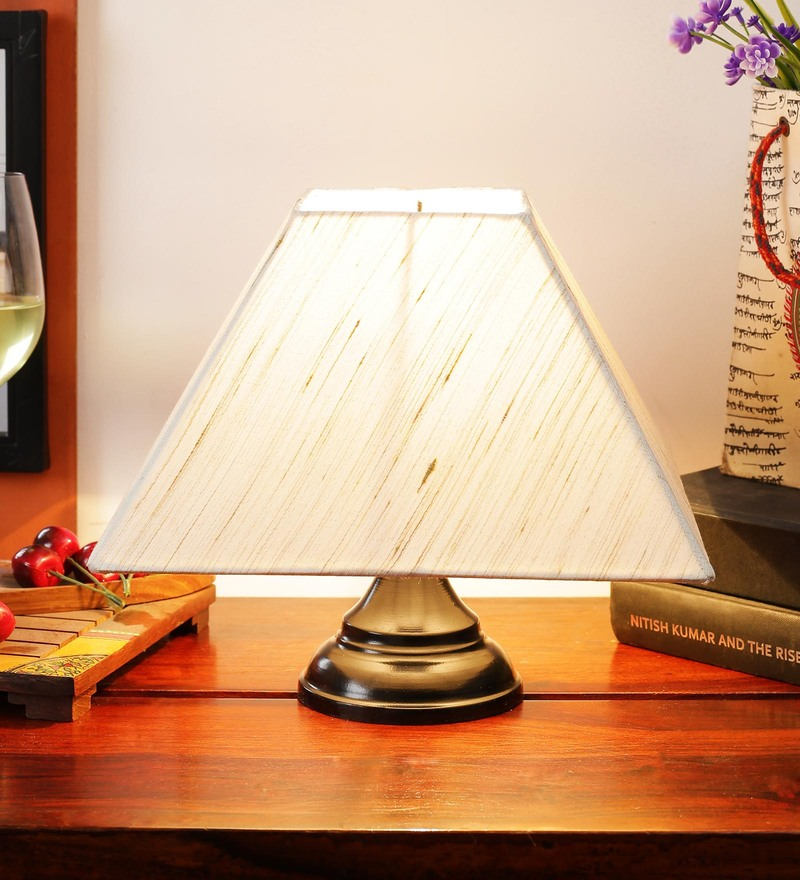 Off White Cotton Table Lamp by New Era