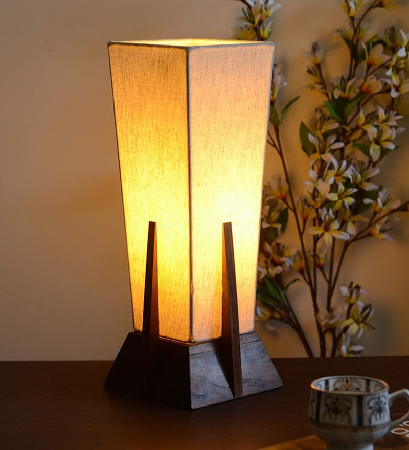 Off White Fabric Table Lamp by Unravel India