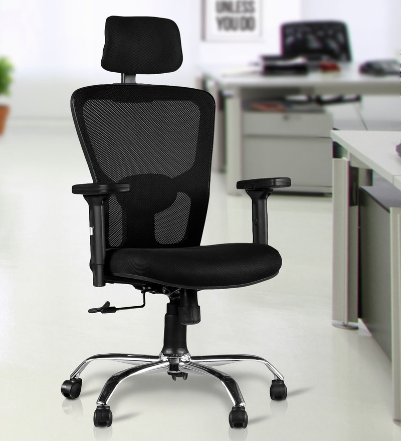 Olivia High Back Ergonomic Chair in Chrome Black Colour by HomeTown