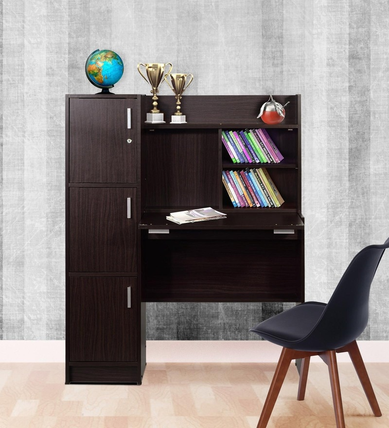 Omura Study Table with Cabinets in Dark Brown Finish by Mintwud