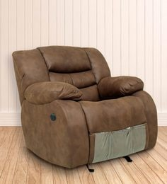 One Seater Motorized Recliner in Brown Colour by Star India at pepperfry