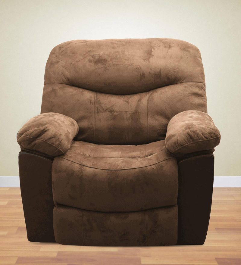 One Seater Recliner in Brown Suede Fabric by Parin