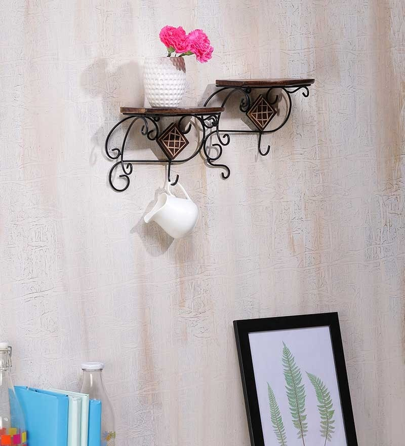 Brown Mango Wood Durable & Sturdy Wall Shelf by Onlineshoppee