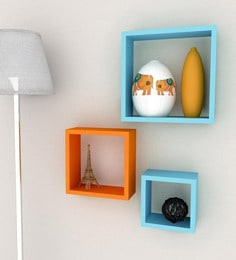 Orange & Blue Engineered Wood Square Wall Shelves - Set Of 3 By Home Sparkle