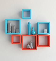 Orange & Blue Engineered Wood Square Wall Shelves - Set Of 6 By Home Sparkle