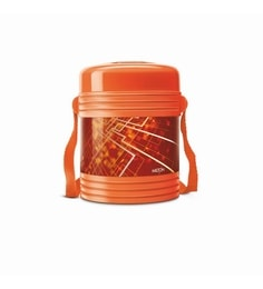 Orange Plastic & Stainless Steel Lunch Box With Leak Lock 3 Containers - 1613443