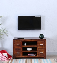 Oriel Four Drawer Entertainment Unit In Honey Oak Finish
