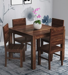 Oriel Solid Wood Four Seater Dining Set In Provincial Teak Finish