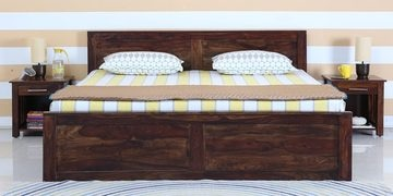 Oriel Queen Bed With Box Storage In Provincial Teak Finish