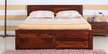 Oriel Queen Bed With Two Drawer Storage In Honey Oak Finish
