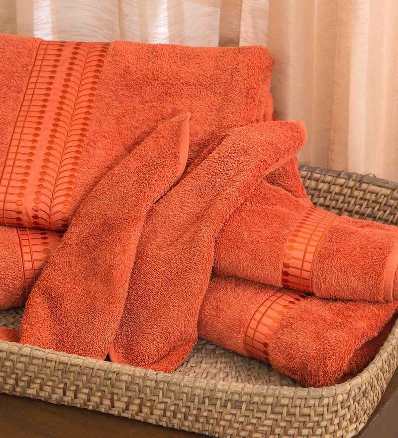 Orange 100% Cotton Bath Towel by Maspar